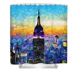 Hello New York Shower Curtain by Sir Josef - Social Critic -  Maha Art