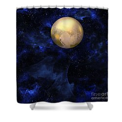 Shower Curtain featuring the digital art Hello Pluto by Klara Acel