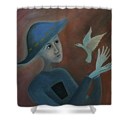 Shower Curtain featuring the painting Hello To You by Tone Aanderaa