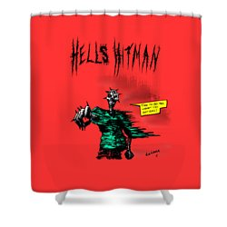 Shower Curtain featuring the drawing Hells Hitman by Kim Gauge
