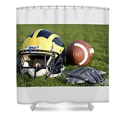 Helmet On The Field With Football And Gloves Shower Curtain