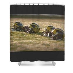 Shower Curtain featuring the photograph Helmets In Golden Dawn Sunlight by Michigan Helmet