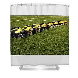 Shower Curtain featuring the photograph Helmets Of Different Eras On The Field by Michigan Helmet