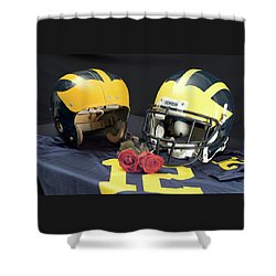 Helmets Of Different Eras With Jersey And Roses Shower Curtain