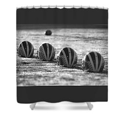 Shower Curtain featuring the photograph Helmets On Dew-covered Field At Dawn Black And White by Michigan Helmet
