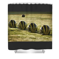 Helmets On Dew-covered Field At Dawn Shower Curtain