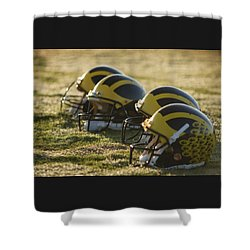 Shower Curtain featuring the photograph Helmets On The Field At Dawn by Michigan Helmet