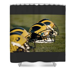 Helmets On The Field Shower Curtain