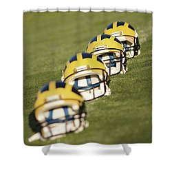 Helmets On Yard Line Shower Curtain