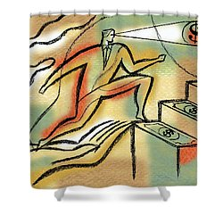 Shower Curtain featuring the painting Helping Hand And Money by Leon Zernitsky