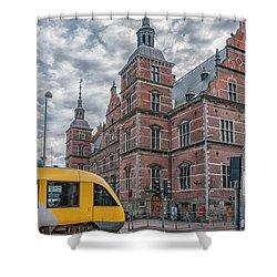 Shower Curtain featuring the photograph Helsingor Train Station by Antony McAulay