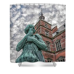 Shower Curtain featuring the photograph Helsingor Train Station Statue by Antony McAulay