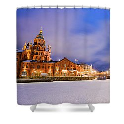 Shower Curtain featuring the photograph Helsinki By Night by Delphimages Photo Creations