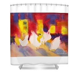 Henhouse Serenade Shower Curtain by Kathy Braud