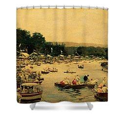 Henley Regatta Shower Curtain by James Jacques Joseph Tissot