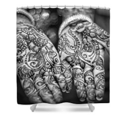 Henna Hands Black And White Shower Curtain