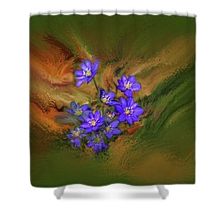 Shower Curtain featuring the digital art Hepatica Nobilis Painterly #h4 by Leif Sohlman