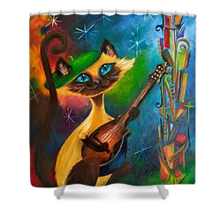 Hepcat Meowndolin Shower Curtain