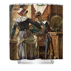 Her First Born Shower Curtain by Walter Langley