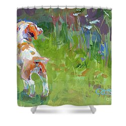 Her First Point Shower Curtain by Kimberly Santini