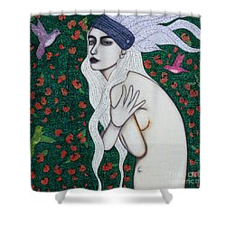 Shower Curtain featuring the mixed media Her Heart Was Wild by Natalie Briney