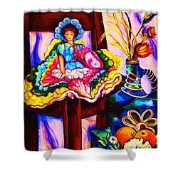 Her Little Parasol Shower Curtain by Carole Spandau