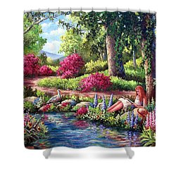 Her Reading Hideaway Shower Curtain by David G Paul