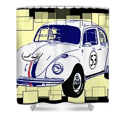 Herbie The Love Bug Shower Curtain by Bill Cannon