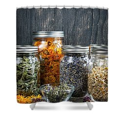 Shower Curtain featuring the photograph Herbs In Jars by Elena Elisseeva
