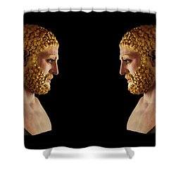 Shower Curtain featuring the mixed media Hercules - Blondes by Shawn Dall