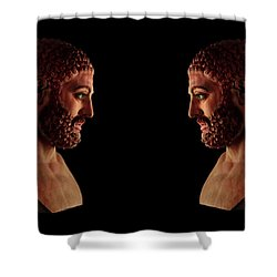 Shower Curtain featuring the mixed media Hercules - Brunettes by Shawn Dall