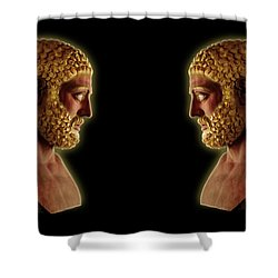 Shower Curtain featuring the mixed media Hercules - Golden Gods by Shawn Dall