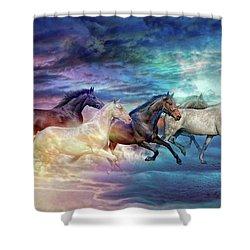 Herd Of Horses In Pastel Shower Curtain