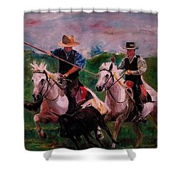 Herdsmen Shower Curtain by Khalid Saeed