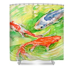 Here Comes Moby Shower Curtain by Judith Levins