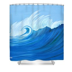 Shower Curtain featuring the painting Here Comes A Big One by Anne Beverley-Stamps