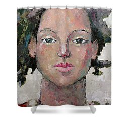 Shower Curtain featuring the painting Here I Am by Becky Kim