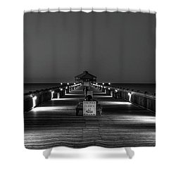 Shower Curtain featuring the photograph Here It Comes Folly Beach Pier Sunrise Art by Reid Callaway