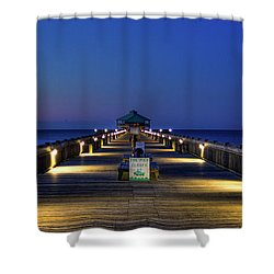 Shower Curtain featuring the photograph Here It Comes Now Folly Beach Pier Sunrise Art by Reid Callaway