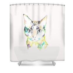 Here Kitty T-shirt Shower Curtain by Herb Strobino