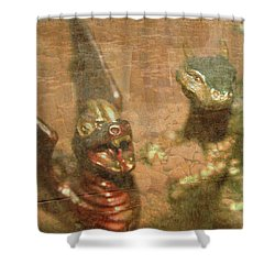 ....here There Be Dragons Shower Curtain by Martina Fagan