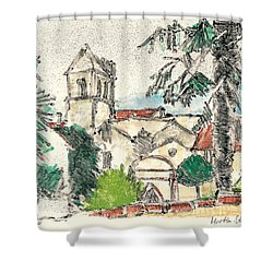 Shower Curtain featuring the painting Herepian Village In Provence by Martin Stankewitz