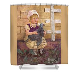 Shower Curtain featuring the painting Heritage Hen Brahma Chicken by Nancy Lee Moran