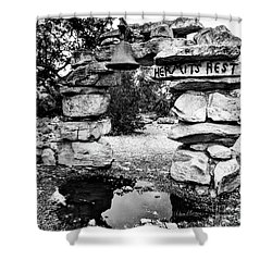 Hermit's Rest, Black And White Shower Curtain