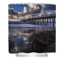 Hermosa Beach Pier Shower Curtain by Ed Clark