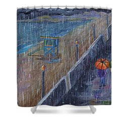 Shower Curtain featuring the painting Hermosa Beach Rain by Jamie Frier