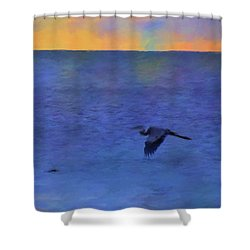 Shower Curtain featuring the photograph Heron Across The Sea by Jan Amiss Photography