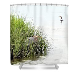Heron And Cormorant Shower Curtain