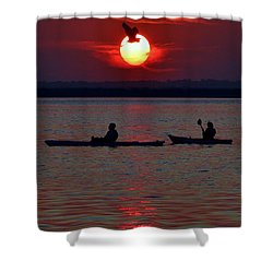 Heron And Kayakers Sunset Shower Curtain