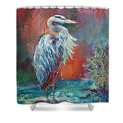 Shower Curtain featuring the painting Heron In Color by Phyllis Howard